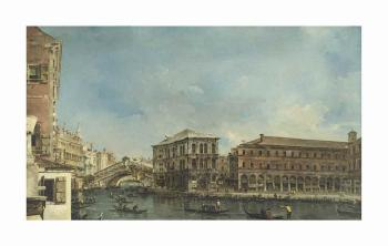 Venice: The Rialto Bridge With The Palazzo Dei Camerlenghi by FRANCESCO GUARDI