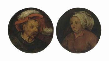 Head Of a Landsknecht; And Head Of a Woman by PIETER BRUEGHEL