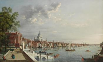 The Thames from Somerset House, London, looking towards Saint Paul's Cathedral by  CANALETTO