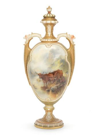 A Good Royal Worcester Vase And Cover By John Stinton Blouin Art