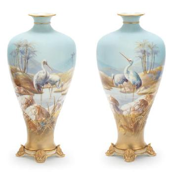 A Pair Of Royal Worcester Vases By Walter Powell Blouin Art Sales