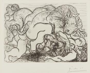 Minotaure attaquant une amazone (minotaure attacking an amazon) by PABLO PICASSO