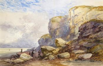 Figures on the coast with flocks of gulls by David Cox
