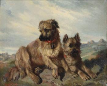 Two Cairn Terriers in a Landscape by Carl Fredrik Kioerboe | Blouin