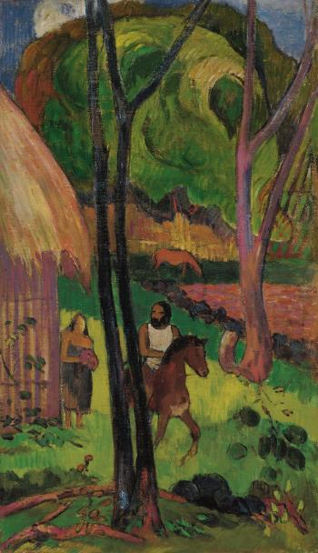 Cavalier devant la case by PAUL GAUGUIN