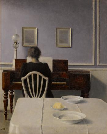 Interior with woman at piano, strandgade 30 by VILHELM HAMMERSHOI