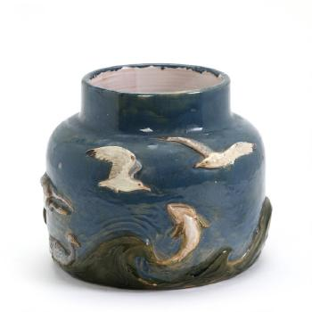 Circular Vase Modeled With Waves Fish Geese And Seagulls By Hans