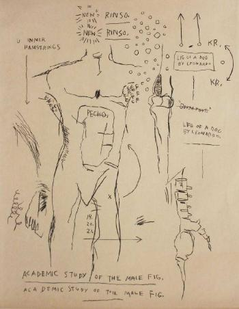 Academic study of the male figure by JEAN-MICHEL BASQUIAT