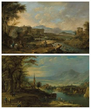 A Mountainous River Landscape With Boaters, Fishermen And a Fortune Teller; And A Mountainous River Landscape With a Hunting Party by  Francesco Guardi