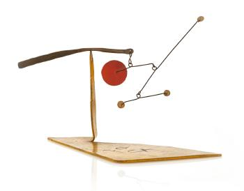 Three White Dots And Red Disc by ALEXANDER CALDER