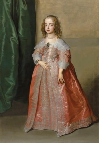 Portrait Of Princess Mary (1631-1660), Daughter Of King Charles I Of England, Full-length, In a Pink Dress Decorated With Silver Embroidery And Ribbons by ANTHONY VAN DYCK