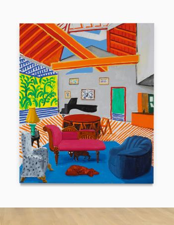 Montcalm Interior With 2 Dogs by DAVID HOCKNEY