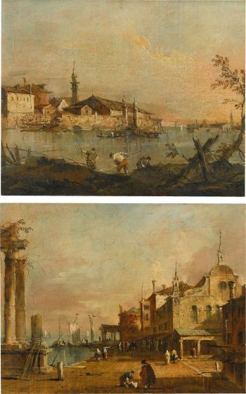 Capriccio View of a Harbour Scene With a Ruined Temple And a Church; Capriccio View of a Venetian Lagoon Island by 