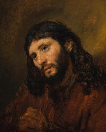 Study Of The Head And Clasped Hands Of A Young Man As Christ In Prayer by REMBRANDT HARMENSZ VAN RIJN