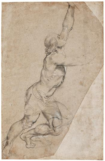 Nude Study Of A Young Man With Raised Arms by PETER PAUL RUBENS