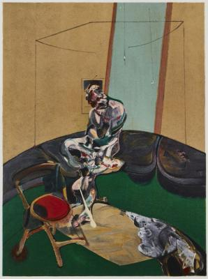 George Dyer Fixing A Curtain Cord  by FRANCIS BACON