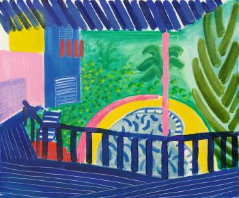 Pool And Pink Pole by DAVID HOCKNEY