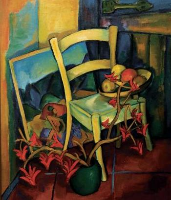 ALEXIS PRELLER. (SOUTH AFRICAN 1911 - 1975). Still life with chair ... & Still life with chair by Alexis Preller | Blouin Art Sales Index