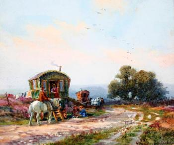 Gipsy caravans on a moorland path by George Hamilton Constantine
