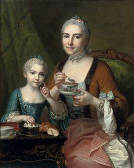 Portrait of an elegant lady and her daughter, three-quarter-length, drinking hot chocolate by JEAN CHEVALIER